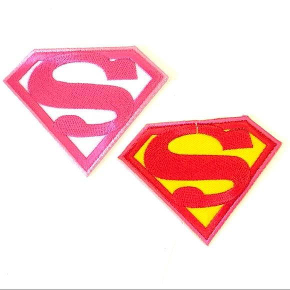 Pink Superman Supergirl Girl Comic Superhero Vintage Iron on Patch Applique NEW